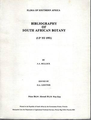 Image for Bibliography of South African Botany (up to 1951)