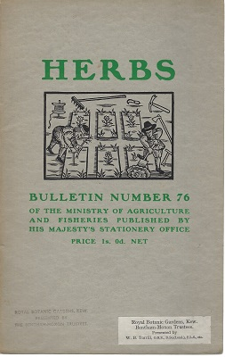 Image for Herbs (Bulletin number 76 of the Ministry of Agriculture and Fisheries)