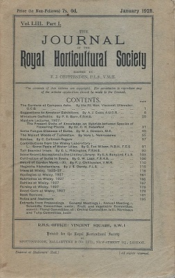 Image for Journal of the Royal Horticultural Society. Volume LIII Part 1. (Vol 53 part 1)