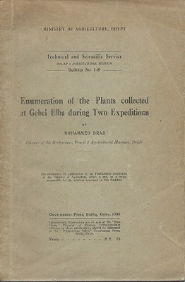 Image for Enumeration of the Plants Collected at Gebel Elba During Two Expeditions