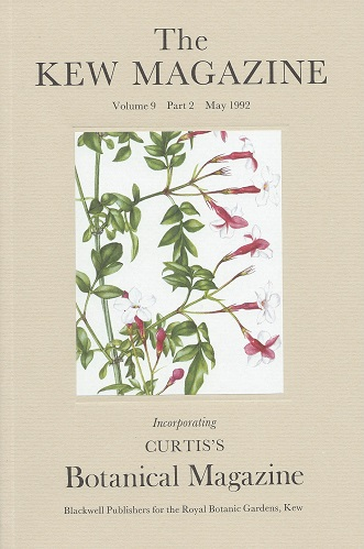 Image for The Kew Magazine Volume 9 part 2 (incorporating Curtis's Botanical Magazine) -  includes 'The Argan: multipurpose tree of Morocco' and 'Two Japanese species of Asarum'