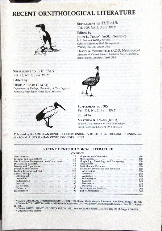 Image for RECENT ORNITHOLOGICAL LITERATURE, 1983-1998, (being a supplement to The Auk, The Emu and The Ibis). {Richard Fitter's copies}