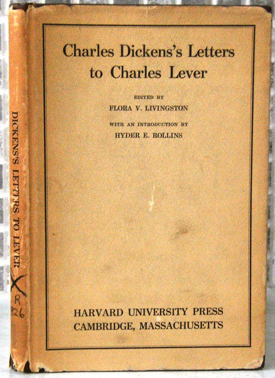 Image for Charles Dickens Letters to Charles Lever