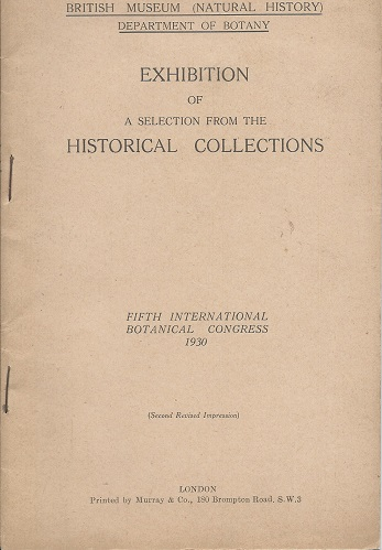 Image for Exhibition of a selection From the Historical Collections (Fifth International Botanical Congress)