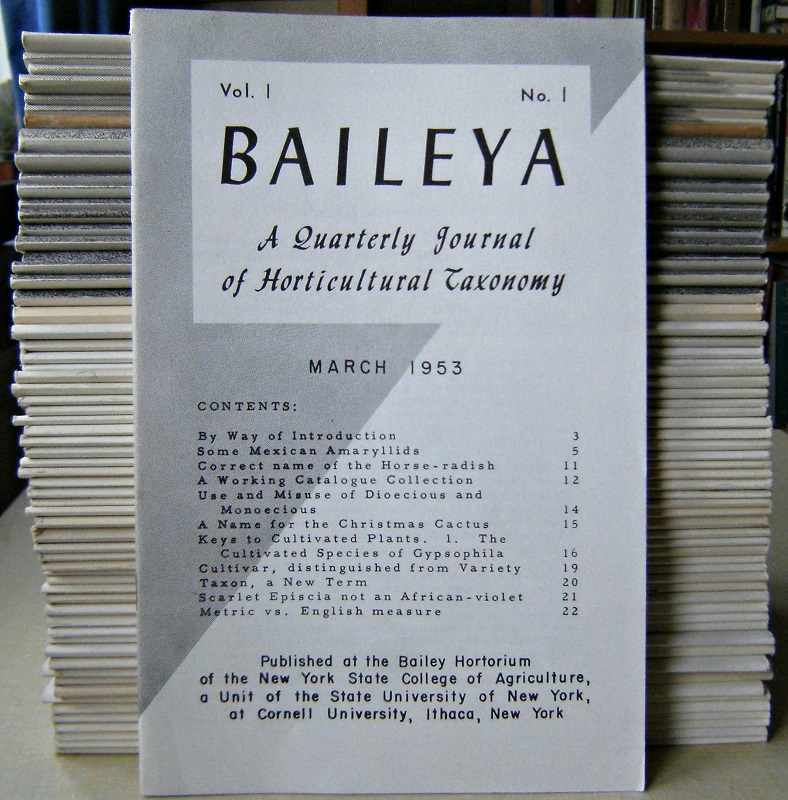 Image for BAILEYA - A Quarterly Journal of Horticultural Taxonomy.  Volume 1 to Volume 16, (lacking only two parts), a splendid long run