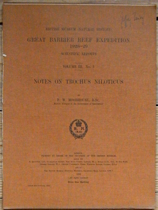 Image for Notes on Trochus niloticus. Great Barrier Reef Expedition, Scientific Reports, Volume III number 5 [Geoffrey Tandy's copy]