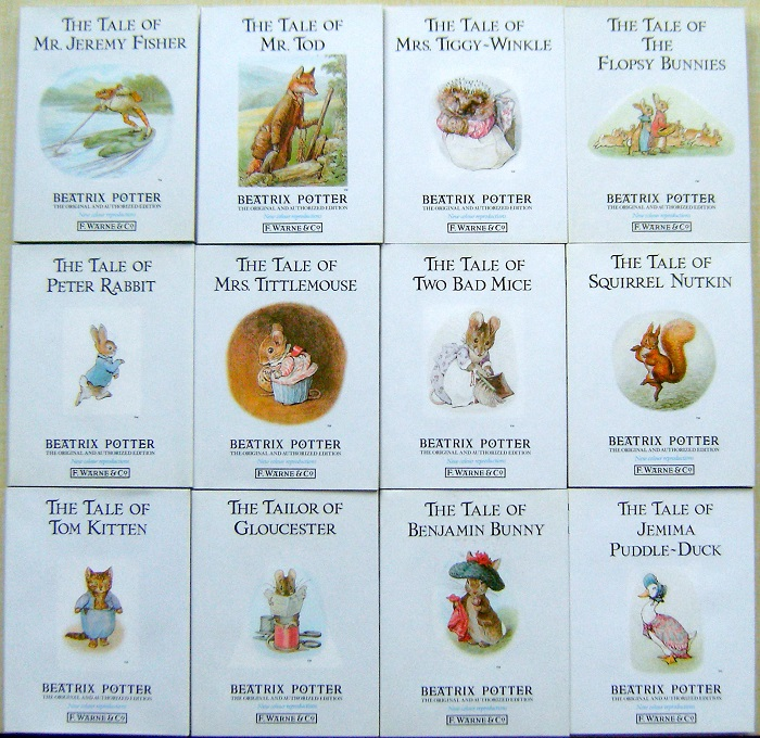 Image for 12 Volume set - The Tale of Tom Kitten, The Tailor of Gloucester.  Benjamin Bunny. Jemima Puddle-Duck. Peter Rabbit. Mrs Tittlemouse.Squirrel Nutkin. Two Bad Mice. Mr Tod.Mrs Tiggy-Winkle. The Flopsy Bunnies. Mr Jeremy Fisher.