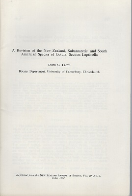 Image for A Revision of the New Zealand, Subantarctic, and South American Species of Cotula, section Leptinella