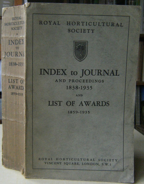 Image for Index to Journal and Proceedings 1838-1935 and List of Awards 1859-1935