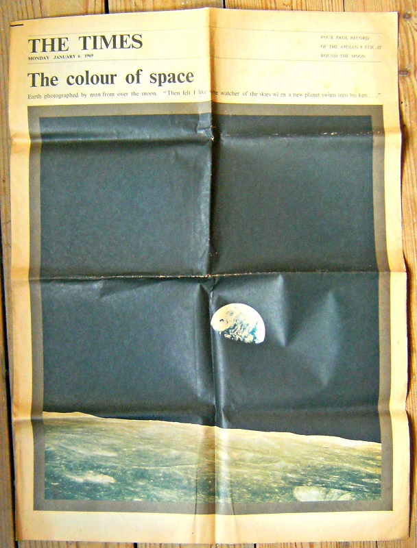 "Image for APOLLO 8 FLIGHT ROUND MOON 1969 THE TIMES NEWSPAPER SUPPLEMENT JANUARY 6TH - ""The Colour of Space"""