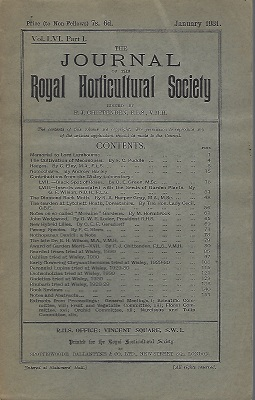 Image for Journal of the Royal Horticultural Society, Volume LVI part 1