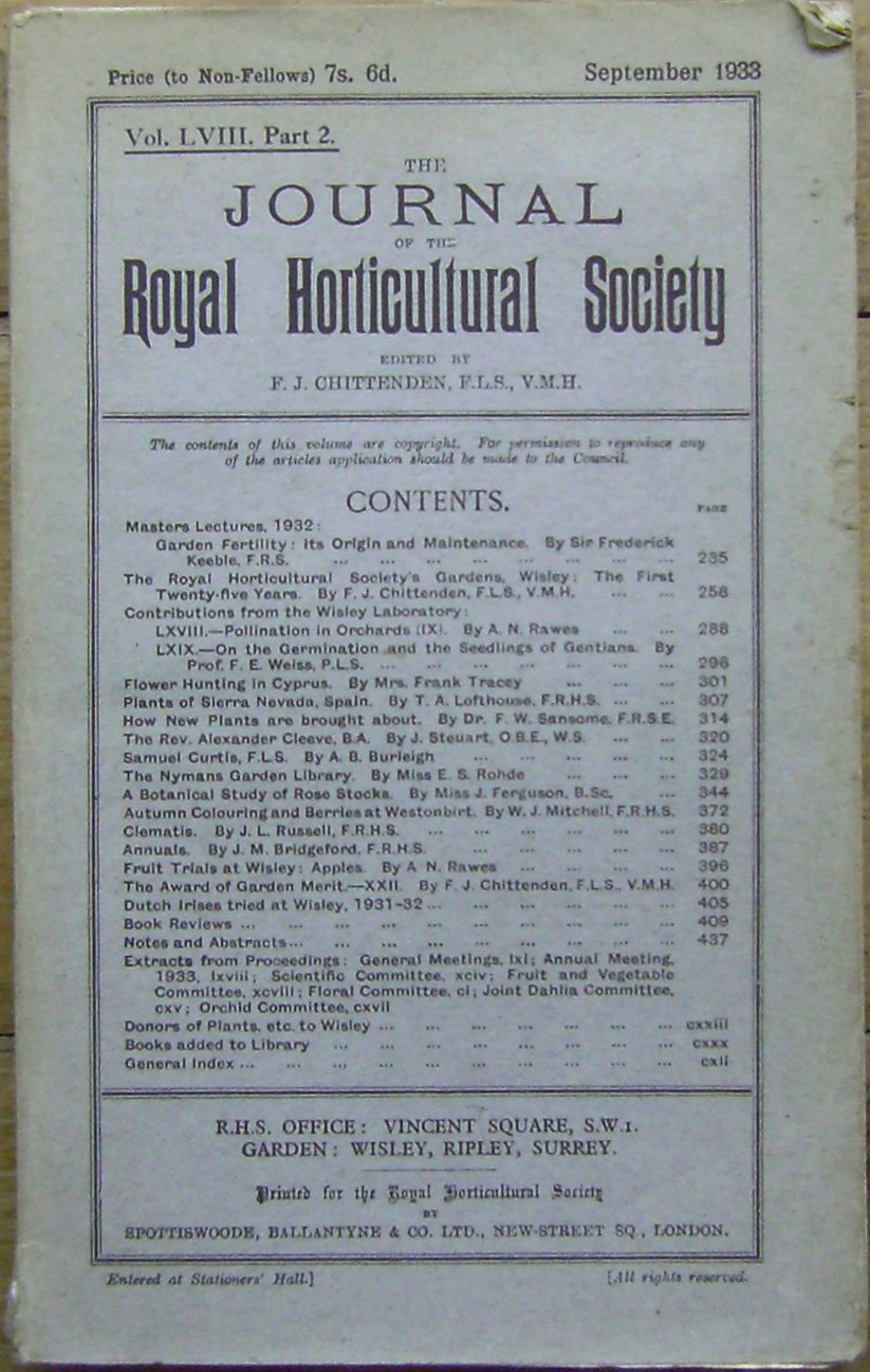 Image for Journal of the Royal Horticultural Society, Volume  LVIII Part 2