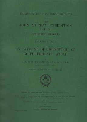 Image for An Account of Horsburgh or Goifurfehendu Atoll - The John Murray Expedition, 1933-34, Scientific Reports