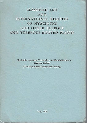 Image for Classified List and International Register of Hyacinth and Other Bulbous and Tuberous Rooted Plants