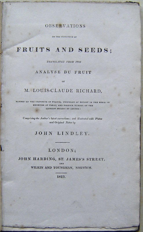 "Image for Observations on the Structure of Fruits and Seeds, translated from the ""Analyse du Fruit"" of M. Louis-Claude Richard"