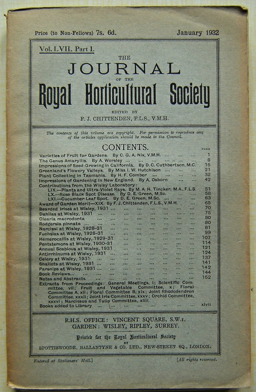 Image for Journal of the Royal Horticultural Society, Volume LVII part 1