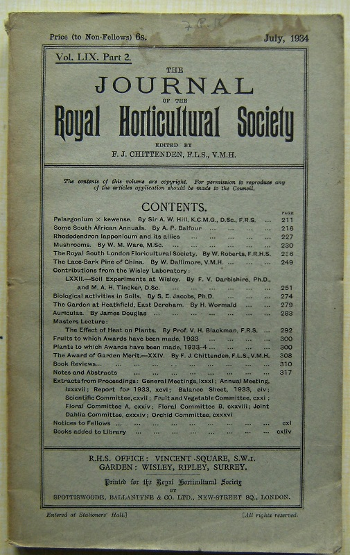 Image for Journal of the Royal Horticultural Society Volume LIX part 2