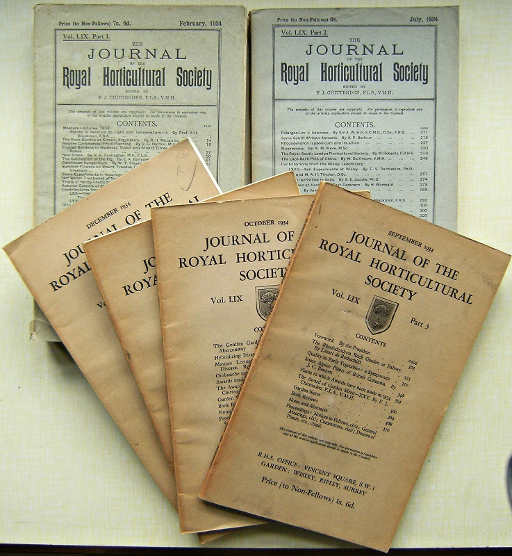 Image for Journal of the Royal Horticultural Society Volume LIX, complete in  6 parts