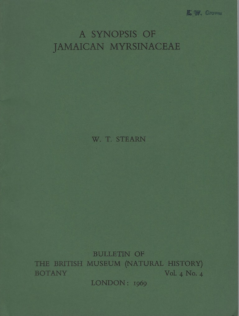 Image for A Synopsis of the Jamaican Myrsinaceae. (Eric Groves' copy)