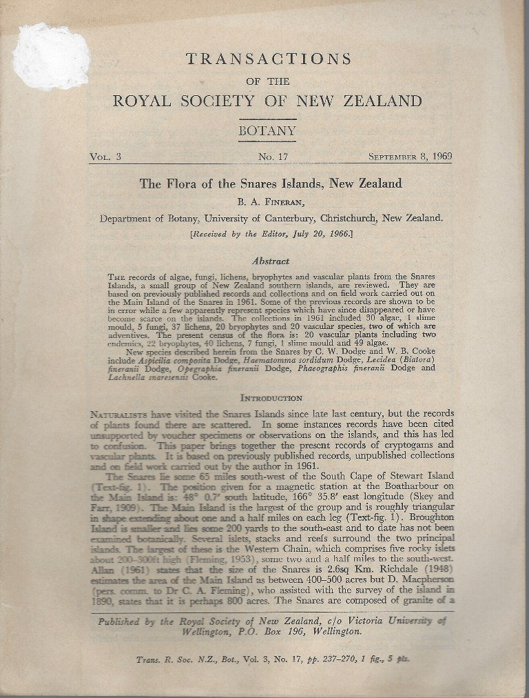 Image for The Flora of the Snares Islands, New Zealand