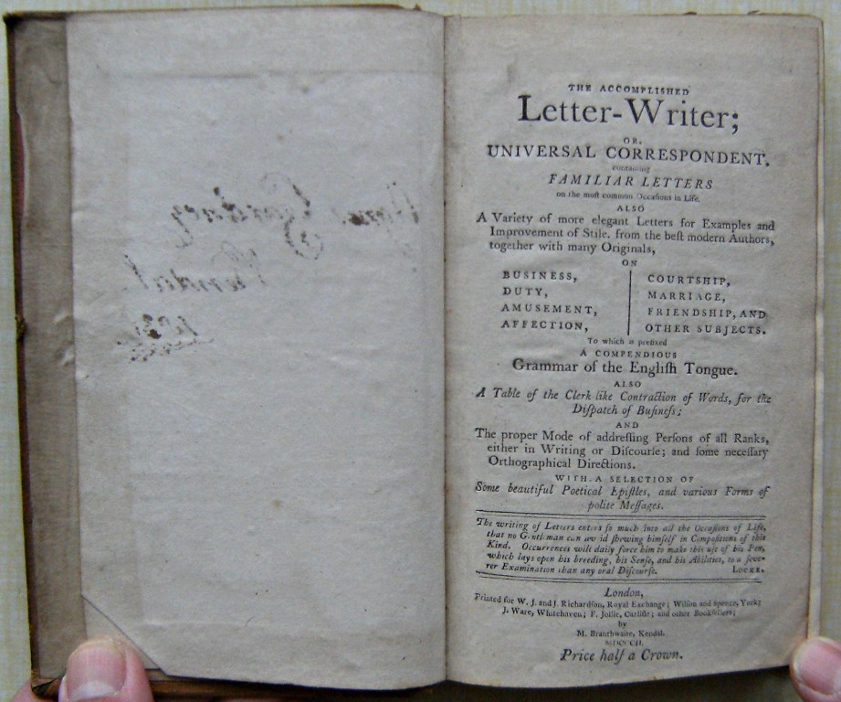 Image for The accomplished letter-writer; or, Universal correspondent. : Containing familiar letters on the most common occasions in life. Also a variety of more elegant letters for examples and improvement of style, from the best modern authors,