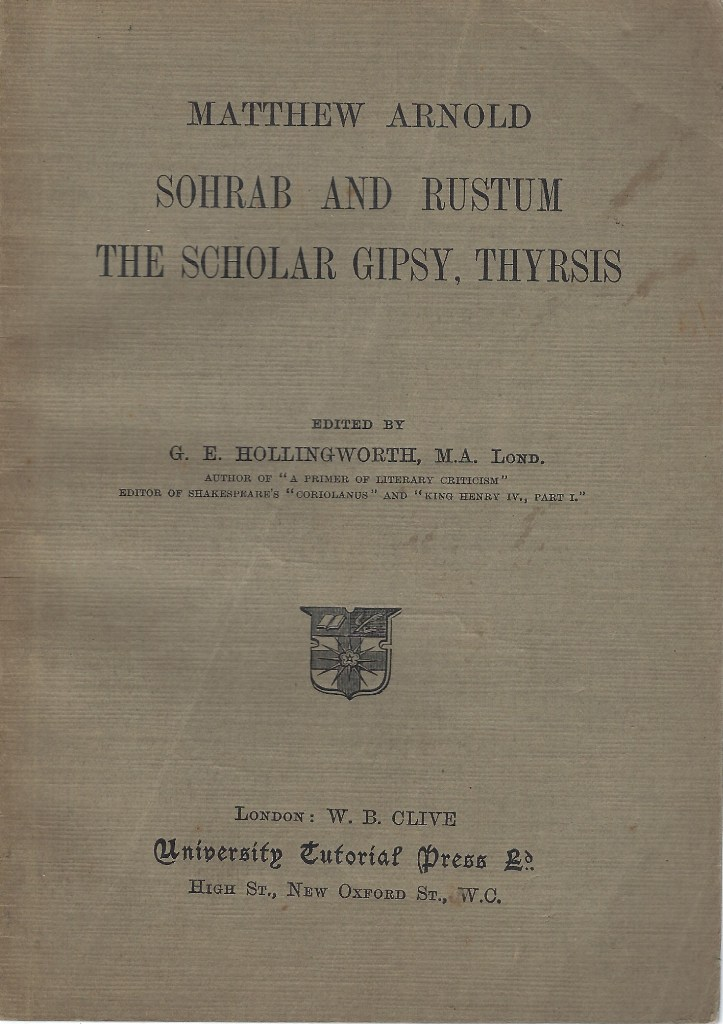 Image for Sohrab and Rustum. The Scholar Gipsy. Thyrsis.
